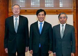 .韩中日央行行长会议举行  韩中未谈货币互换协议续签问题.