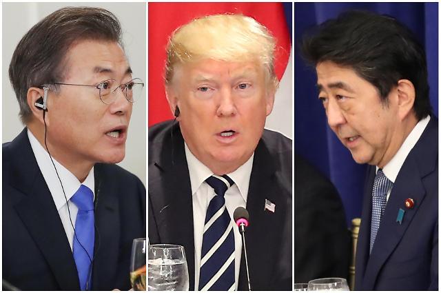 韩美日元首会晤商定对朝施加最大程度制裁与压力