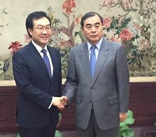 六方会谈韩中团长在北京会晤
