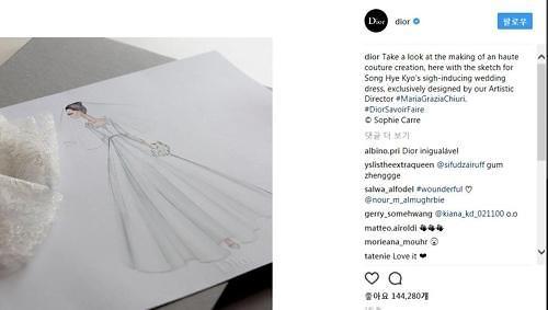 迪奥发布宋慧乔婚纱制作照送祝福
