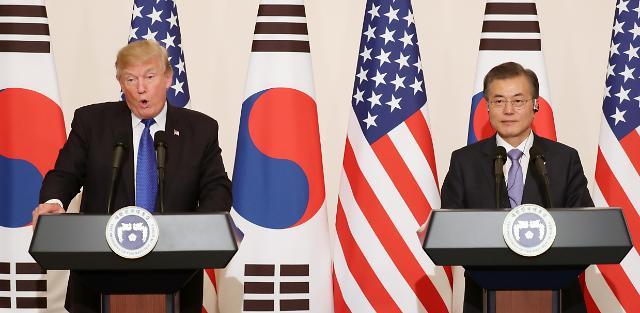 """韩美首脑举行会谈 """"将以压倒性优势应对朝鲜挑衅"""""""