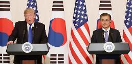 """.韩美首脑举行会谈 """"将以压倒性优势应对朝鲜挑衅""""."""