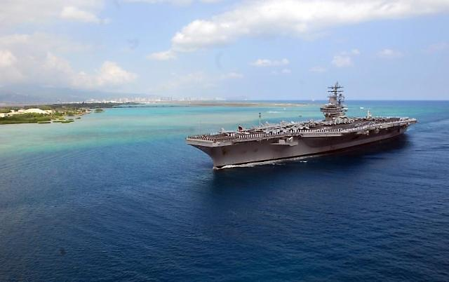 美三艘航母在韩半岛海域展开史上首次联合演习
