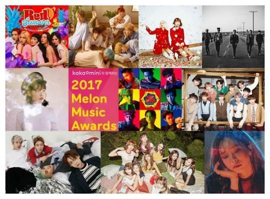 """2017 Melon Music Awards""公开TOP10候选名单 BIGBANG、BTS、EXO等上榜"