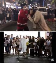 """[영상]임병두 사과 홍대 버스킹..경찰 """"현재 별다른 지도규제 없어""""..여자관객 머리채 잡고 흔들어"""