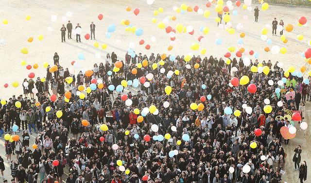韩国高考生放飞气球祈福