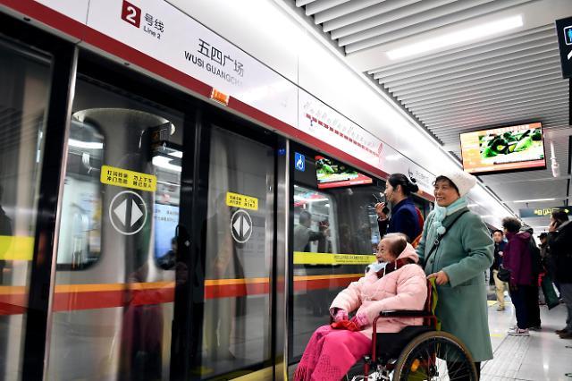 [영상중국] 中 칭다오 지하철 2호선 시운행 돌입