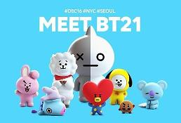 .Boy band BTS cooperates with LINE Friends to produce character items.