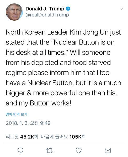 特朗普回应金正恩:我的核按钮比你的大,还好用