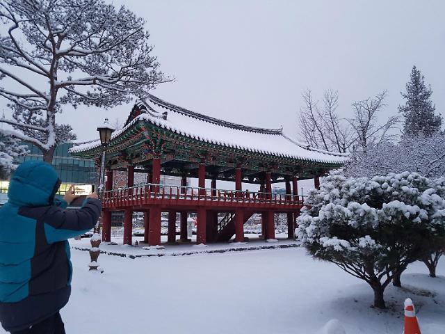 韩国各地普降大雪 一夜之间变身冰雪王国
