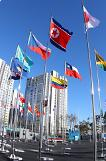 .Olympic organizer hoist N. Korean flags to mark opening of athletes village.