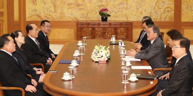 文在寅在青瓦台接见朝鲜高级别代表团