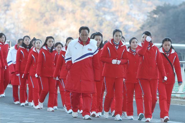 朝鲜啦啦队今日首次室外观战 为韩朝选手加油助威