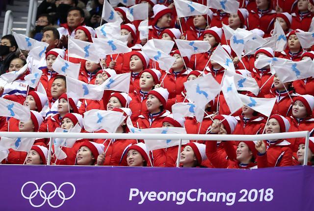 朝鲜啦啦队手持半岛旗为选手助威