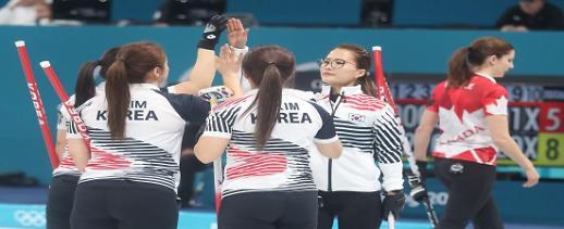 여자 컬링, 첫 경기에 세계 최강 캐나다 꺾었다