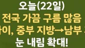 [오늘날씨 카드뉴스]오늘(22일), 전국 가끔 구름 많고 밤 사이, 중부 지방 →남부 지방 많은 눈 내림 확대!대설예비특보