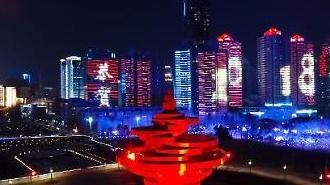 [영상중국] 산둥성 대표 관광지, '도시+바다' 칭다오 야경