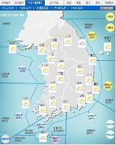 '날씨'전국 구름 많고 강원,충북,경북최고3㎝'눈'..미세먼지'나쁨'..낮최고14도