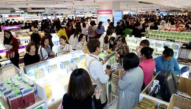 韩国免税店迎来春天 1月外国人销售额首破10亿美元