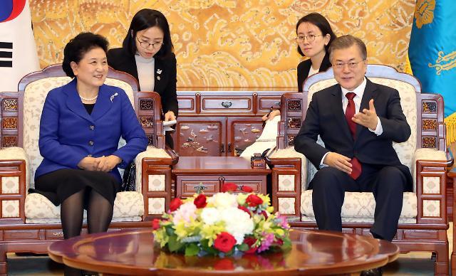 韩国总统文在寅会见中国国务院副总理刘延东