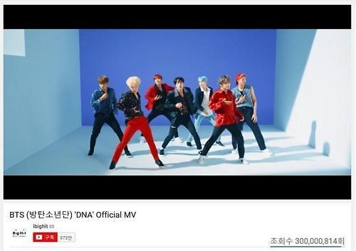 防弹少年团《DNA》MV点击量破3亿 创下韩流组合最快纪录