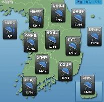 [오늘의 날씨 예보] 서울경기 30mm, 강원영동 60mm '폭우'…미세먼지농도 WHO기준 전국 '보통'