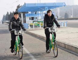 .平壤也有共享单车啦!.