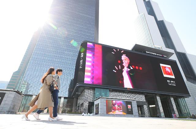 超大型户外LED广告牌亮相SM TOWN