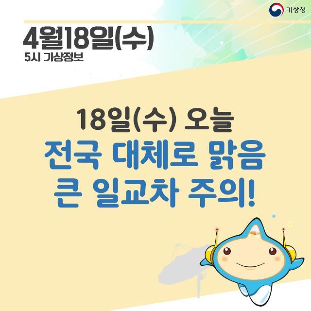 [오늘날씨 카드뉴스]오늘 전국 맑고 아침·저녁 큰 일교차···남부·박무 연무 교통안전 유의