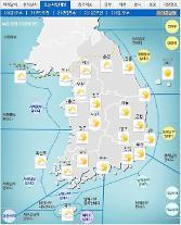 '날씨'전국 미세먼지'나쁨',낮최고30도,맑다 저녁부터 구름 많아져