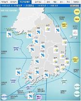 '날씨'전국에 최고150㎜이상'비'..낮최고22도..돌풍,천둥ㆍ번개