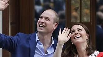 [글로벌포토] 건강한 모습으로..셋째 안고 등장한 英 왕세손 부부