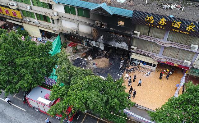 [중국포토] 중국도 분노 범죄? 방화 추정 화재로 18명 사망
