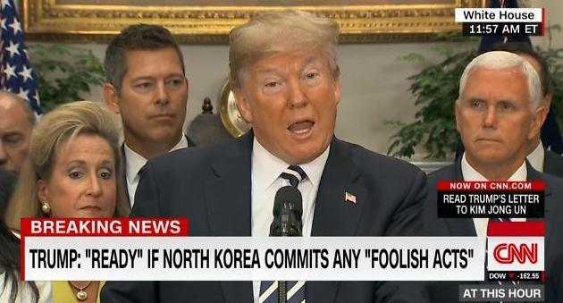 """트럼프 """"北 대화 나서야… 그렇지 않으면 강력한 제재"""""""