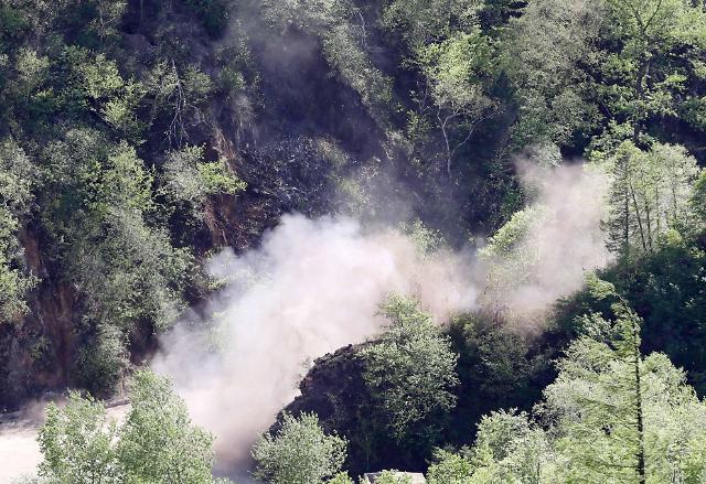 朝鲜公开丰溪里核试验场爆破现场