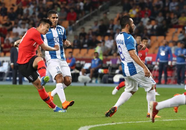 2018世界杯热身赛韩国2比0胜洪都拉斯