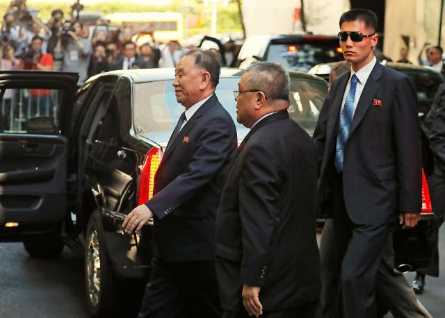 朝鲜高级代表金英哲抵达纽约