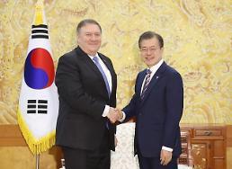 .文在寅接见美国国务卿蓬佩奥 将积极支持朝美会谈成果.