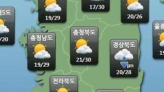 [오늘의 날씨 예보] 일부지역 오후 최고 30mm 소나기…미세먼지 농도 WHO 기준 '한때 나쁨~보통'