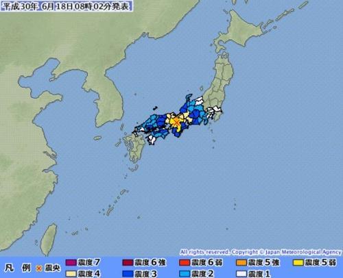 日 오사카 규모 5.9 지진 발생...교토에서도 진동 느껴져