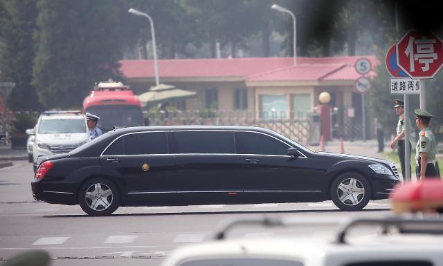 金正恩专车抵达北京钓鱼台国宾馆