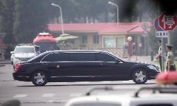 .金正恩专车抵达北京钓鱼台国宾馆.
