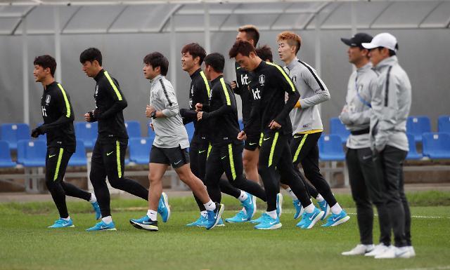 韩国队赛前训练