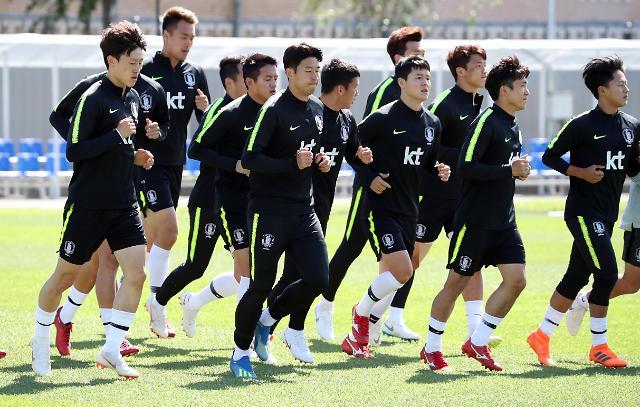 韩国队赛前训练迎战墨西哥队