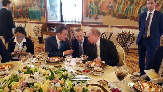 韩俄领导人晚宴花絮照曝光