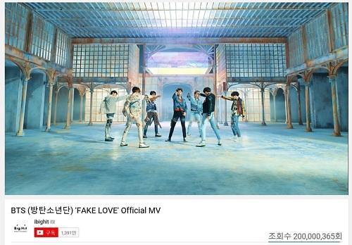 防弹少年团《FAKE LOVE》MV优兔播放量破2亿