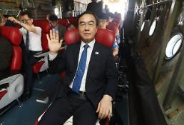 .韩国代表团抵朝参加统一篮球赛.