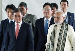 .文在寅出席印度三星手机工厂竣工式.