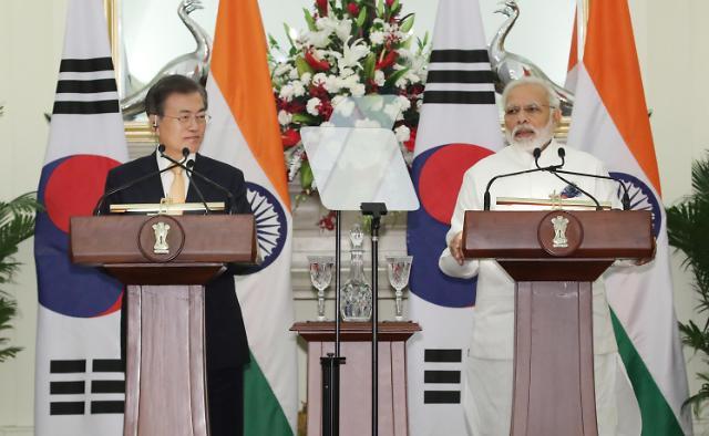 文在寅与莫迪举行首脑会谈 签署韩印蓝图声明