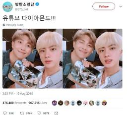 .BTS receives award from YouTube for more than 10 million subscribers.